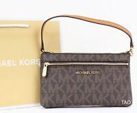 Michael Kors Jet Set Travel Signature Top Zip Wristlet Bag Pouch PVC Brown New