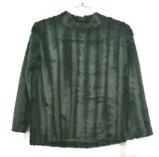 AD Adyson Parker Womens Green Furry Sweater Pullover Ribbed Funnel Neck S