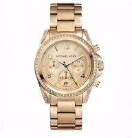 Michael Kors MK5166 Women's Watch Gold Runway Crystal Glitz Blair Chronograph
