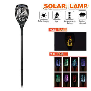 96LED 4 Pack Solar Torch Lights Flickering Lighting Waterproof Flame Garden Lamp