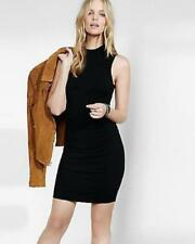 EXPRESS Small BLACK SLEEVELESS MOCK NECK RUCHED SWEATER DRESS (S 4-6)