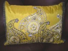 Keeko Address Home Nikko Embroidered Paisley Gold Pillow Sham & Insert NEW $80