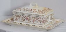 Antique Victorian Mercer China Porcelain Transferware Floral Tureen And Tray