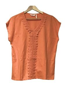 Ladies Size 14, 100% Cotton, T-Shirt Top with Lace Detail - Tangerine (As New)