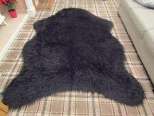 """SPRING SALE"" PELT SHAPE BLACK MONGOLIAN  FAUX FUR SHAGGY FLUFFY RUG 150x220cm"