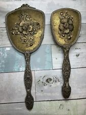New ListingAntique Vanity Hand Mirror & Brush Vintage Flowers Silver Estate Sale Rare
