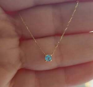 14K GOLD NATURAL AQUAMARINE SOLITAIRE NECKLACE,  4 PRONG SOLITAIRE NECKLACE