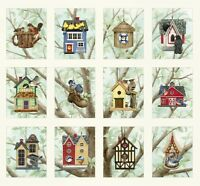 "Elizabeth's Studio Birds House 100% Cotton fabric by the panel 24"" X 43"""