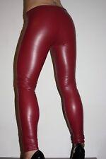 Lederhose Leder Leggings Kunstleder Hose Lederlook Rot Red Gr. S / M, low waist