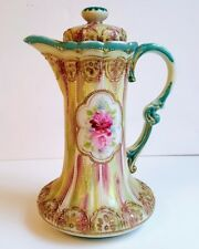 LOVELY CHOCOLATE POT BEADED MORIAGE GOLD HAND PAINTED NIPPON ERA VERY NICE!