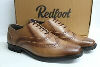 REDFOOT Men's Tan Brown Leather Burnished Oxford Brogue Formal Shoes UK8 NEW