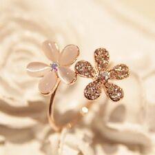 Beauty Fashion Spring Flower Rhinestone Adjustable Rose Golden Ring w/ box FS