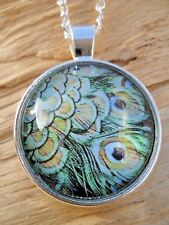 Peacock Feathers Glass Cabochon Green Shimmer Pendant Silver Effect Necklace NEW