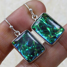 "Earrings of 1.08"" St-14294 Dichroic Glass 925 Silver Plated"