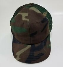 Vintage Woodland Camo Mesh Snapback Trucker Hat '70s/80s Made in USA