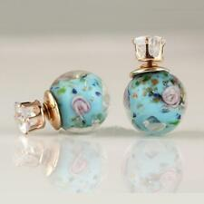PRETTY HANDMADE GLASS BEAD EARRINGS - AQUA & PINK - FREE UK P&P........CG1028