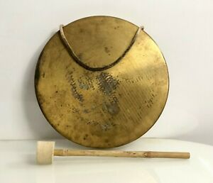 Vintage Round Plate Golden Antique Nautical Solid Brass Ship Bell with Stick