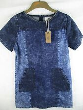 Ladies Bellfield Denim Blue Retro Style Casual Fashion Shift Dress Size 8 XS NWT