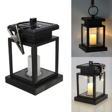 Outdoor Solar Powered Warm White LED Candle Lantern Light Garden Path Wall Lamp
