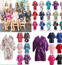 Women's Plain Silk Satin Robes Bridal Wedding Bridesmaid Bride-Gown Kimono-Robe#