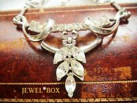VINTAGE Glamorous Clear Paste MARQUISE CRYSTAL RHINESTONE  DROPPER NECKLACE