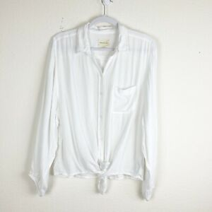 American Eagle Womens White Tie Front Long Sleeve Button Down Shirt M