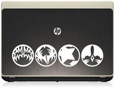 KISS music group circular vinyl stickers for Mac laptops. White decal