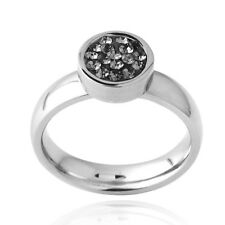 Stainless Steel Gray Crystal Circle Ring S7