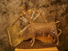 Gallego Bullfighter Wire Sculpture Large Detailed Matador Bull Mid-Century VTG