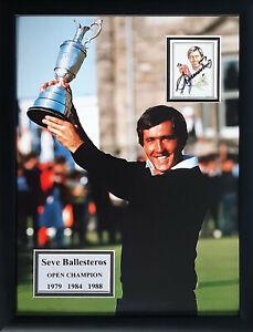 Signed Framed Seve Ballesteros 1979 84 88 Open Golf Champion Autograph Card COA