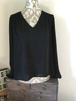 Mango Basics Womens Blouse Top Black Used Size Xs