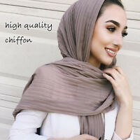 Muslim Women Plain Pleat Chiffon Wrinkle Long Shawl Hijab Crumple Scarf Popular