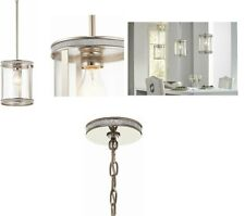 Kichler Angelica Polished Nickel Industrial Clear Glass Cylinder Pendant Light