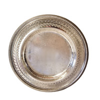 Silver Plate WM Rogers Round Etched Serving Tray 10 Inches Flowers Vintage