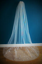 Wedding Veil *Chapel Length*Made to Order*Off white/ Ivory*Floral & Pearl*