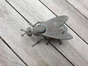 """alter dekorativer  Aschenbecher """" spanische Fliege"""" ~ Messing ~ klappbar"""