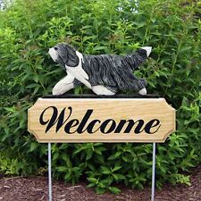 Bearded Collie Welcome Sign Outdoor Oak Wood Yard Sign Blue