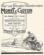 W7435 Motocicletta MONET & GOYON - Pubblicità del 1926 - Old advertising