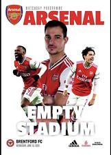 Programme Arsenal v Brentford 10/06/2020 Friendly. Fan edition
