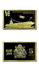 Malawi 60th Anniversary of VE Day USS Coral Sea CVA-43 5 Kwacha 2005 Gilded Proo