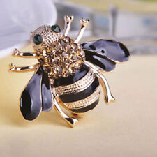 Fashion Women Delicate Little Bee Crystal Rhinestone Pin Brooch Gift Black Gold