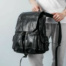 Men Women Retro Vintage Leather Backpack Travel Rucksack School Laptop Bag Chic