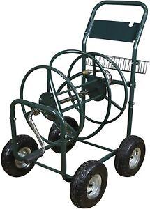 Garden Water  Hose Reel Cart Hose Reel Trolley Holder with Tool Storage Basket