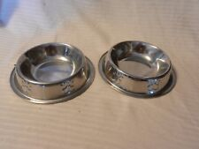 Pair of Silver Metal Small Dog Bowls With Embossed Paw Prints