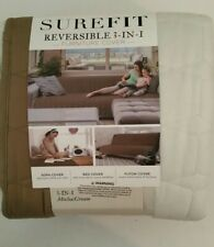 Surefit Reversible 3 in 1 Furniture Cover-Couch Bed or Futon. Armless Tan/Cream