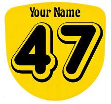3 X Custom carrera de números y nombre Stickers Calcomanías Kart Motocross Mx Dirt Bike-S1