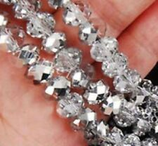 Diy Jewelry 145pc Faceted Rondelle glass crystal 3*4mm Beads Half silver