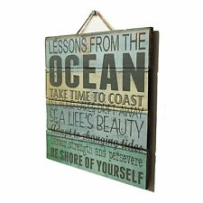 Wood Pallet Sign LESSONS FROM OCEAN Beach Distressed Shore Sail Nautical BSD