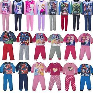 Kids Character Fleece Pyjamas Childrens Pyjama Set Boys/Girls PJs Age 3-10 Years