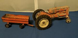 Vintage Cast Metal Allis Chalmers-Chambliss Tractor Toy and Pressed Steel Wagon